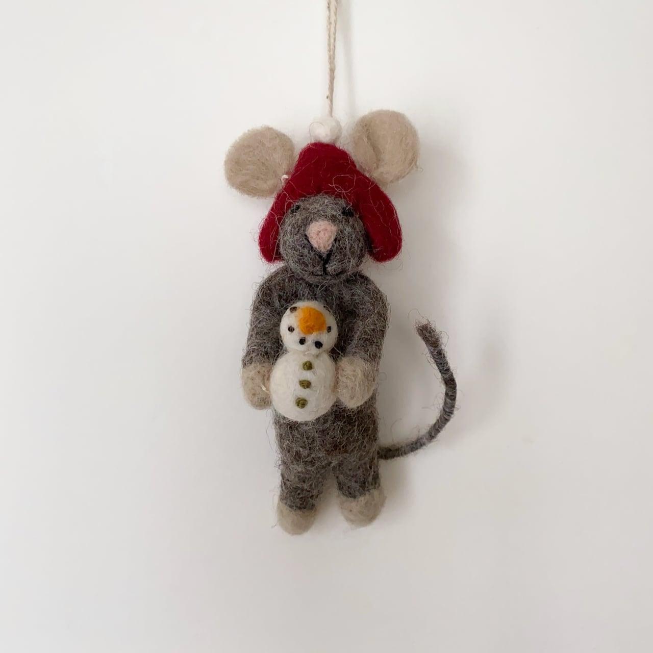 Grey Mouse with Snowman 雪だるまと灰色のマウス オーナメント