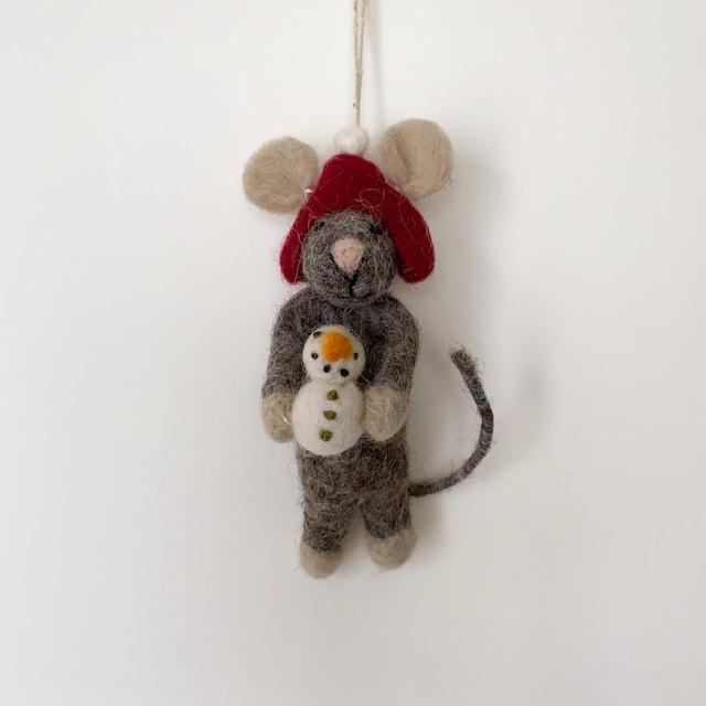 Grey Mouse with Snowman|雪だるまと灰色のマウス オーナメント