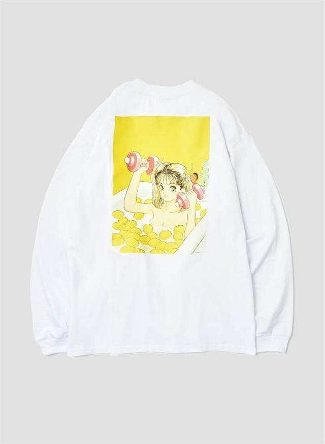 """KOHMI NATSUKI YELLOW"" Long-Sleeve T-Shirt (White)"