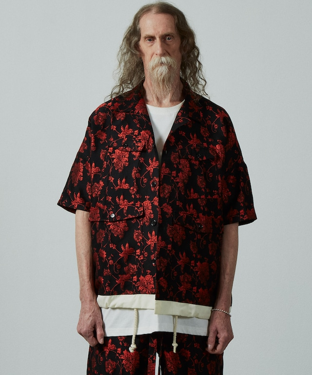 UNSELD floral jaguard shirt Black×red