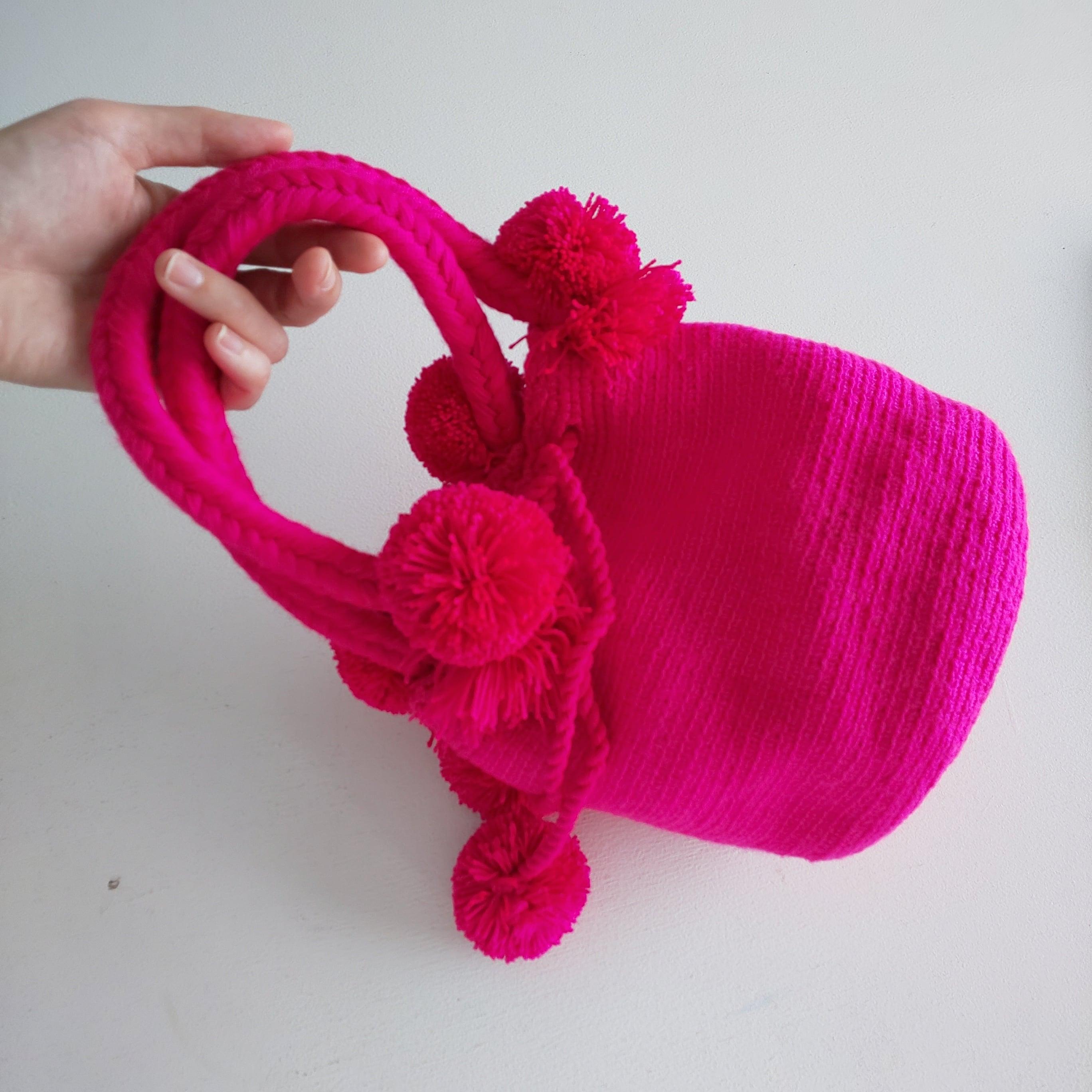 Handmade pom poms bag -pink No.1-