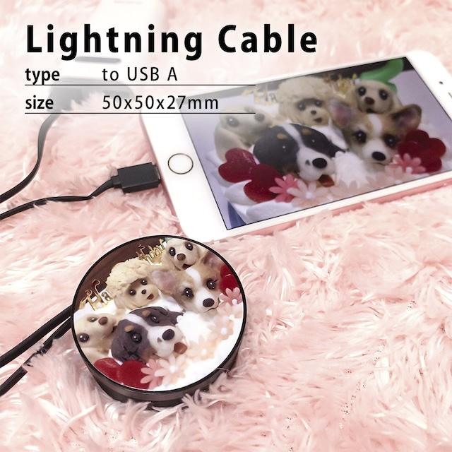 写真でオーダーメイド・オリジナルLightning-USB(A)充電・データ転送ケーブル/巻き取りケーブル/リール式/カスタムオーダー/写真プリント