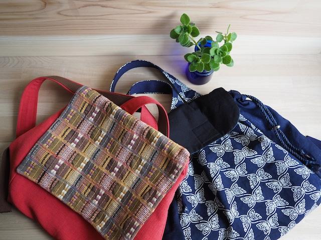 【受注制作】 茶の変わり織とレンガ色の帯リュック、紺に白の蝶々の紬帯リュック
