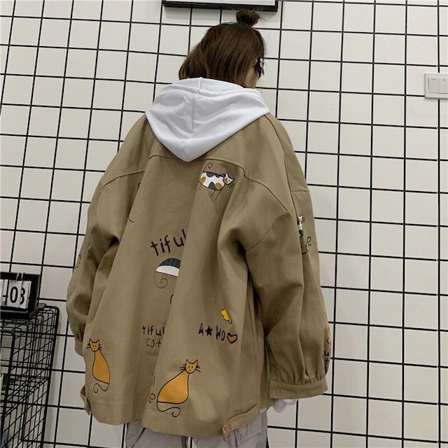 【アウター】フード付きプリントファッションジャケット34335300