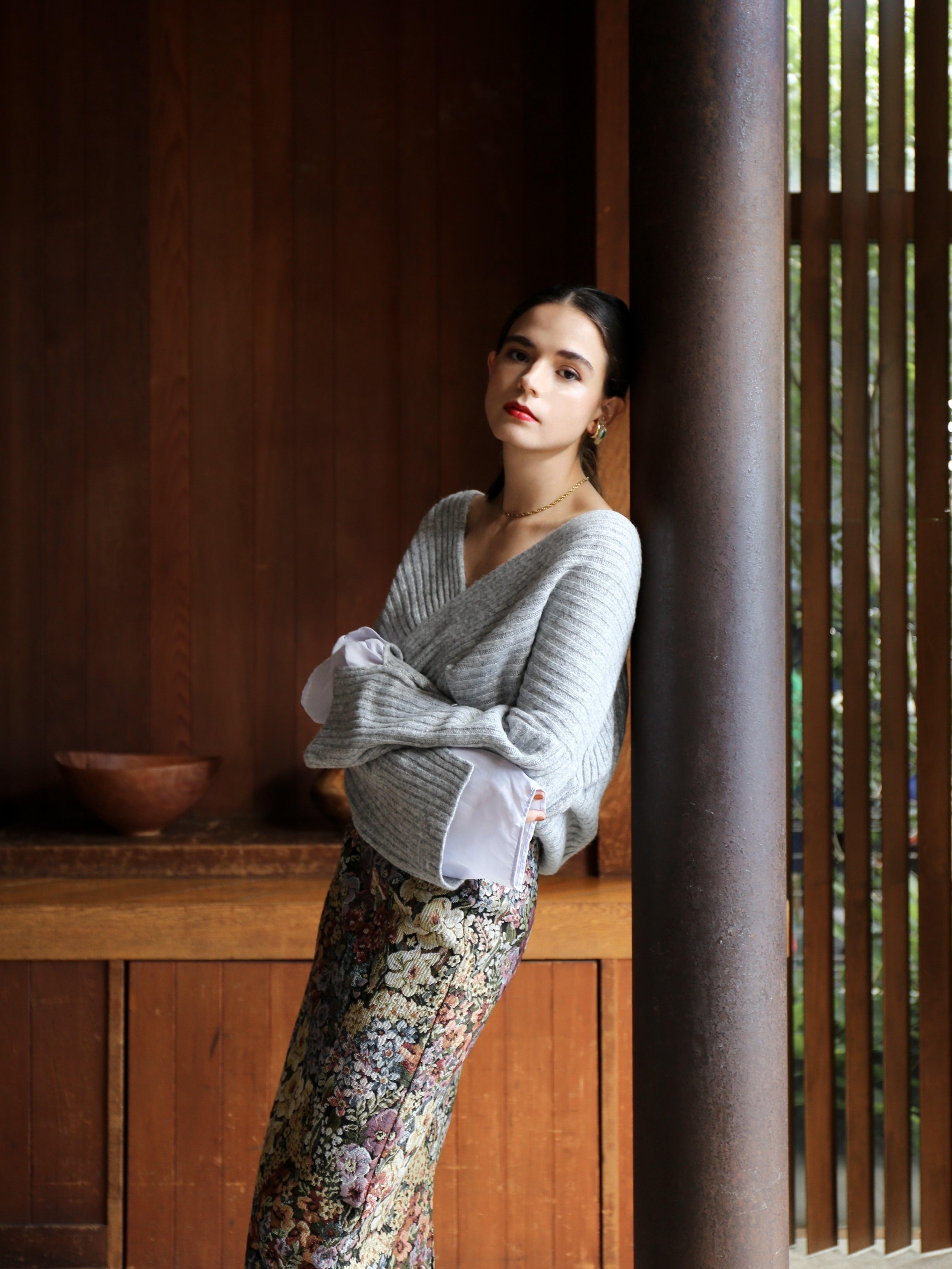 chiffon sleeve knit(light gray)