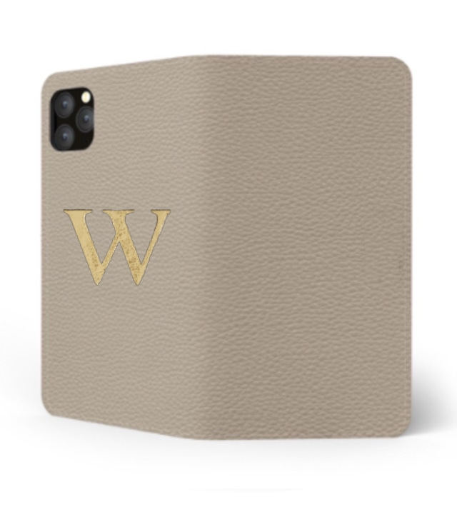 iPhone Premium Shrink Leather Case (Beige) : Book cover Type