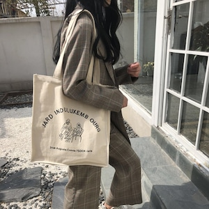 【バッグ】カジュアルプリント肩掛け帆布ファスナーバッグ22040018