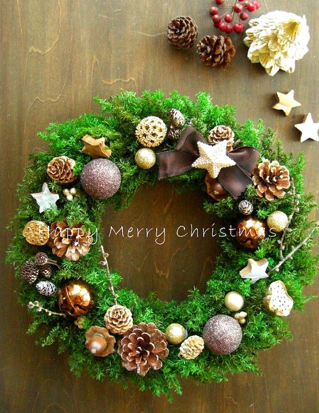フォレストグリーン&ブラウンのシックなクリスマスリース/30センチ
