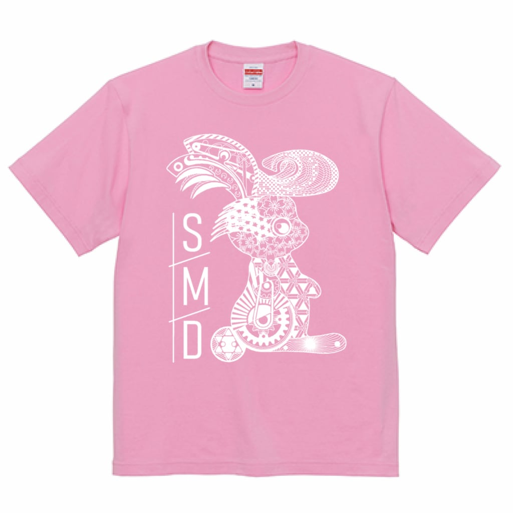 ★リーゼントうさぎTシャツ★ 半袖ピンクT / 白印刷ver 5.0oz