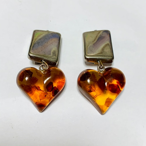 Vintage Heart  Shaped Amber Earrings
