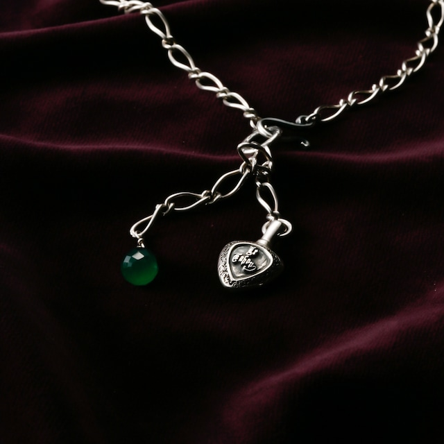 Green Agate & Heart Necklace