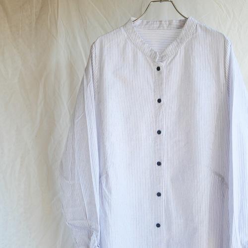【NEW】バンドカラー ロングシャツ ストライプ ホワイト