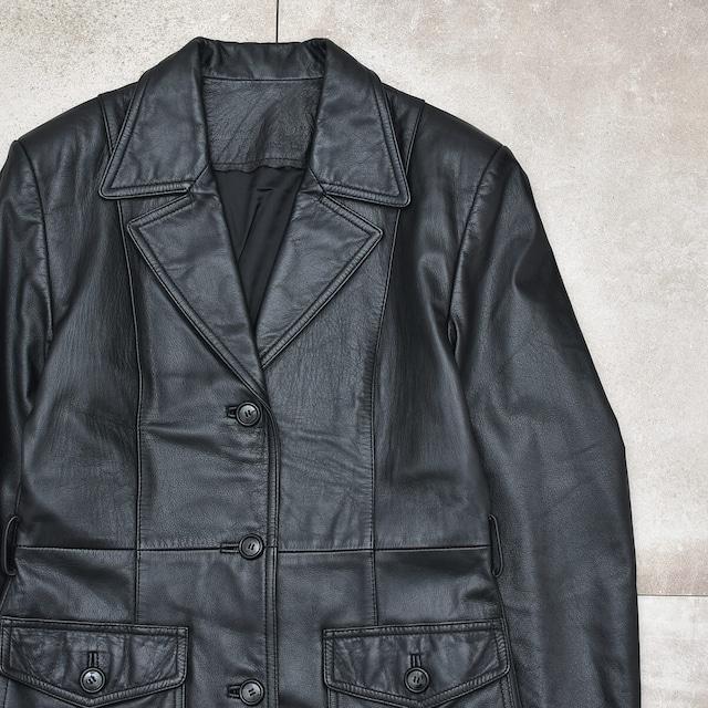 Black ruster leather long coat