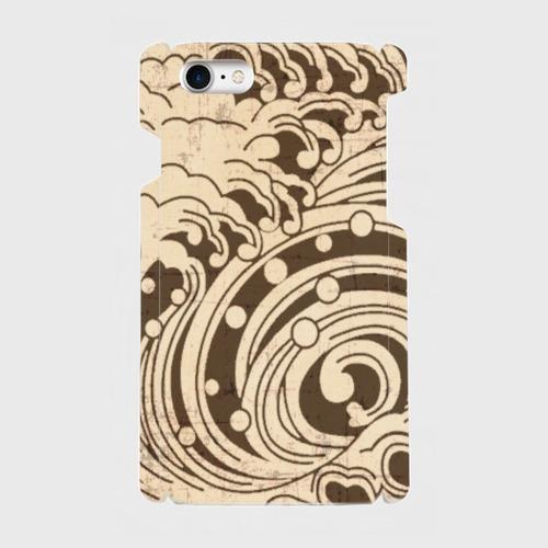 家紋模様、渦巻浪(薄茶) / iPhoneスマホケース(ハードケース)