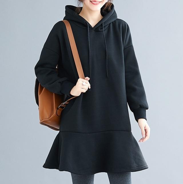 【ワンピース】絶対流行ファッション無地長袖フード付きカジュアルワンピース52994640
