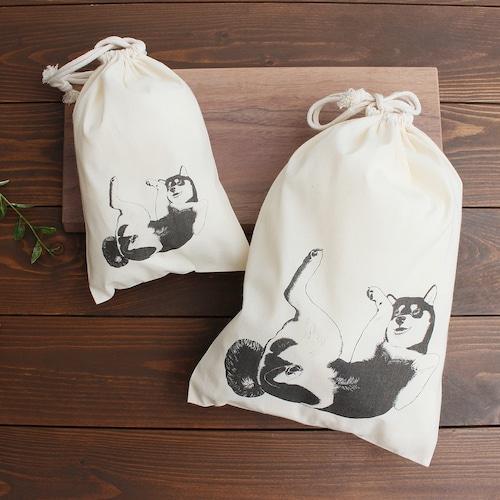 <へそてん柴犬> 容量たっぷりの便利な巾着袋・ポーチ☆2サイズセット