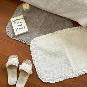 cotton frill foot mat 2colors / コットン フリル フットマット ラグ カーペット 韓国インテリア雑貨