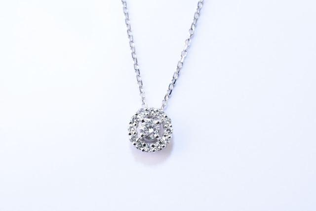 4月 誕生石 ダイヤモンド ネックレス / K18WG