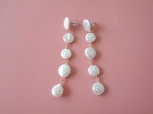 coin pearl pierce,earring