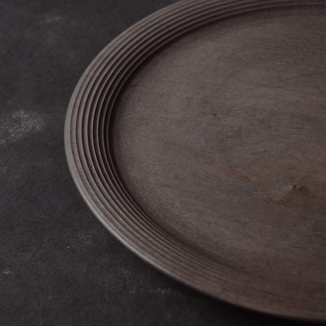 北山栄太 Eita Kitayama  メイプル・ギザギザリムプレート 9寸 (ザクロ草木染+鉄媒染+ガラスコーティング)