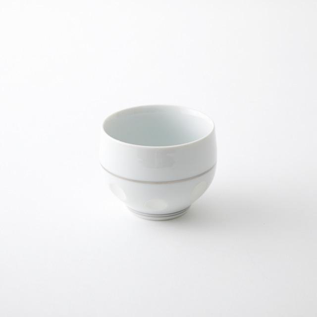 銀ライン彫水玉 煎茶碗
