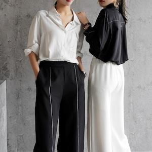 2色/デザインポケットステッチシャツ ・3089