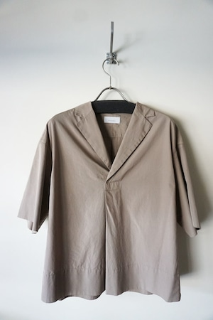 Cotton Open Collared Shirt [ Taupe ]
