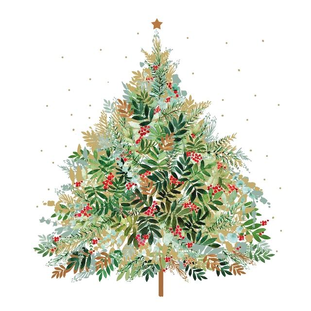 【Paperproducts Design】バラ売り2枚 ランチサイズ ペーパーナプキン Christmas Hill Tree ホワイト