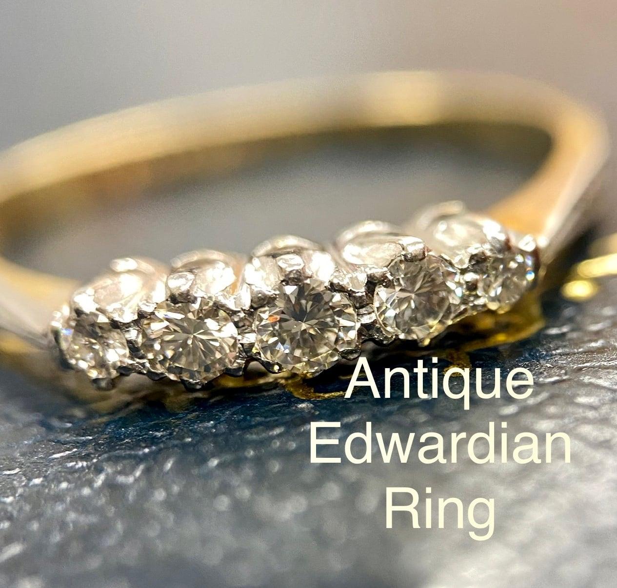 1900年代初期イギリスアンティークリング ダイヤモンド