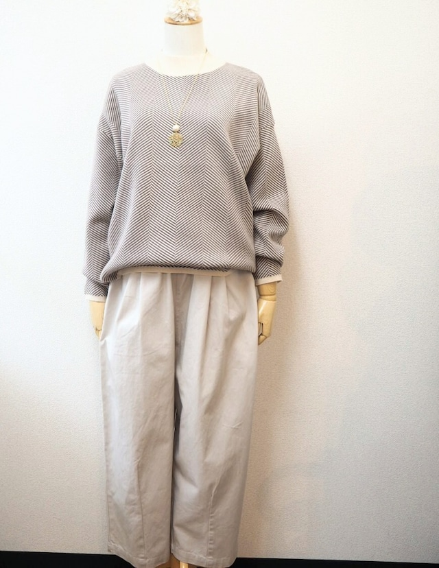 cotton easy trousers  <grayish ivory>