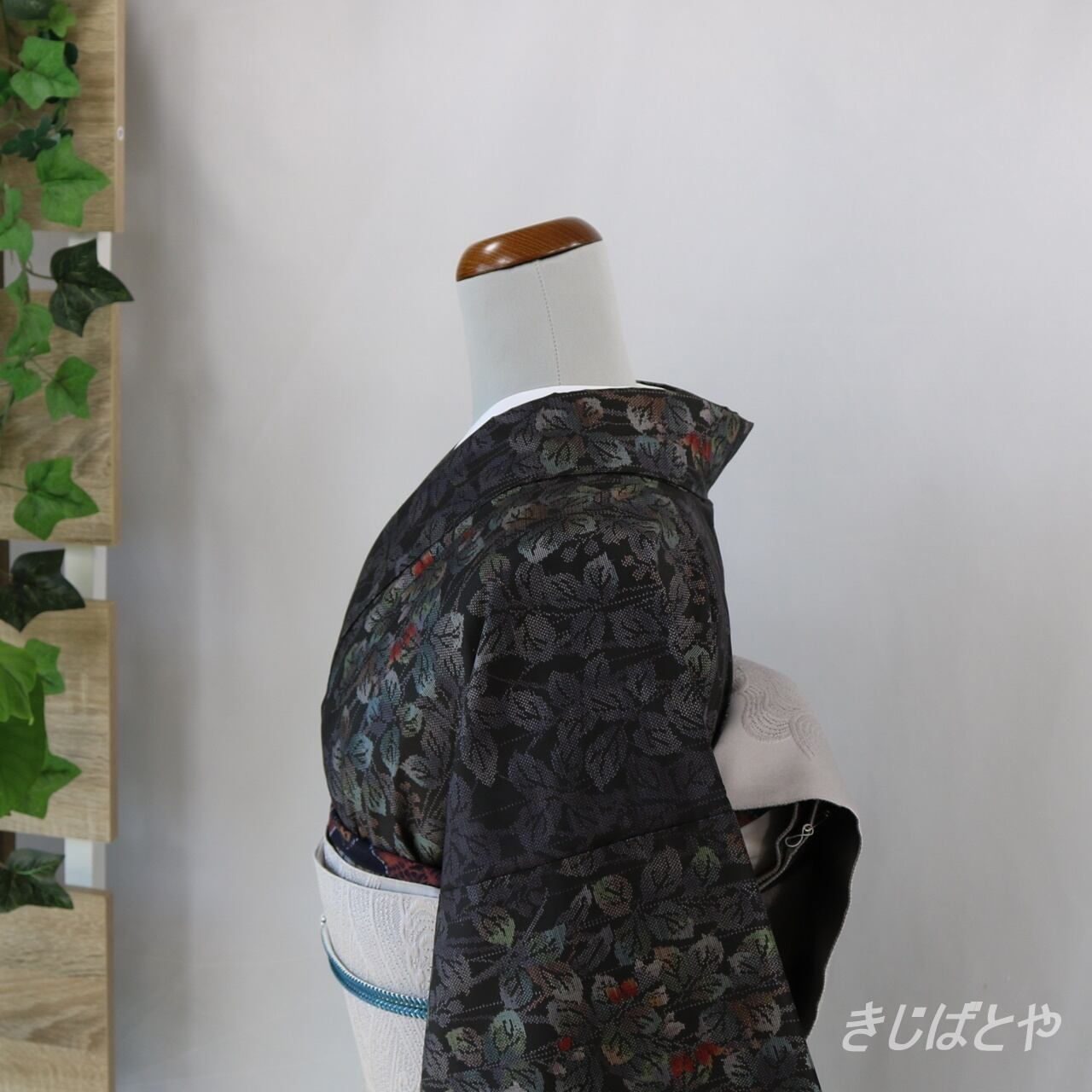 大島紬 黒地に花 袷