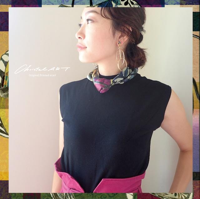 シルクスカーフ「ダリアの華」(レッド)50cm角