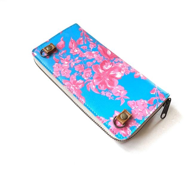 【ハシモト産業 x pink india】北欧デザイン ストラップホルダー付牛革ラウンド財布   north blue