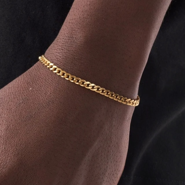 Miami Chain Link Bracelet 【4mm/GOLD】