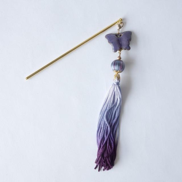 一本挿しかんざし 七宝の胡蝶(紫)と刺繍巻き玉ストライプ