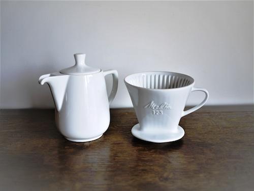 Melitta123 白磁 ヴィンテージ メリタ  コーヒーポット&ドリッパー 陶器製 ホワイト 60年代