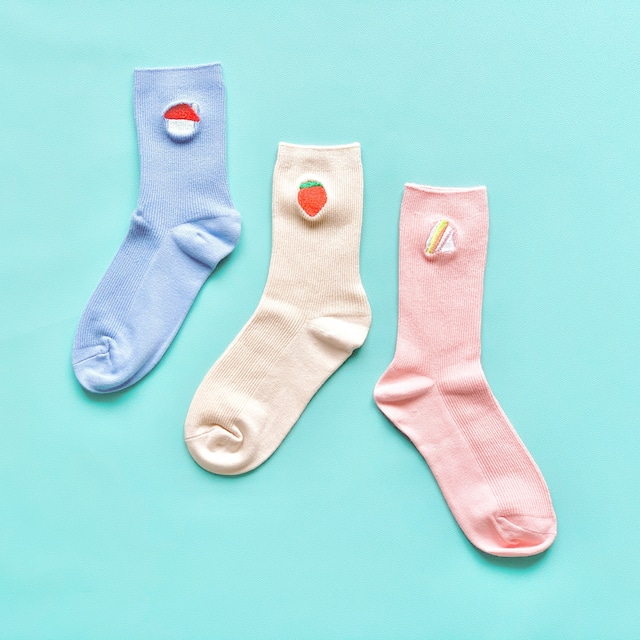 ワンポイント刺繍ソックス 全16種 4色展開