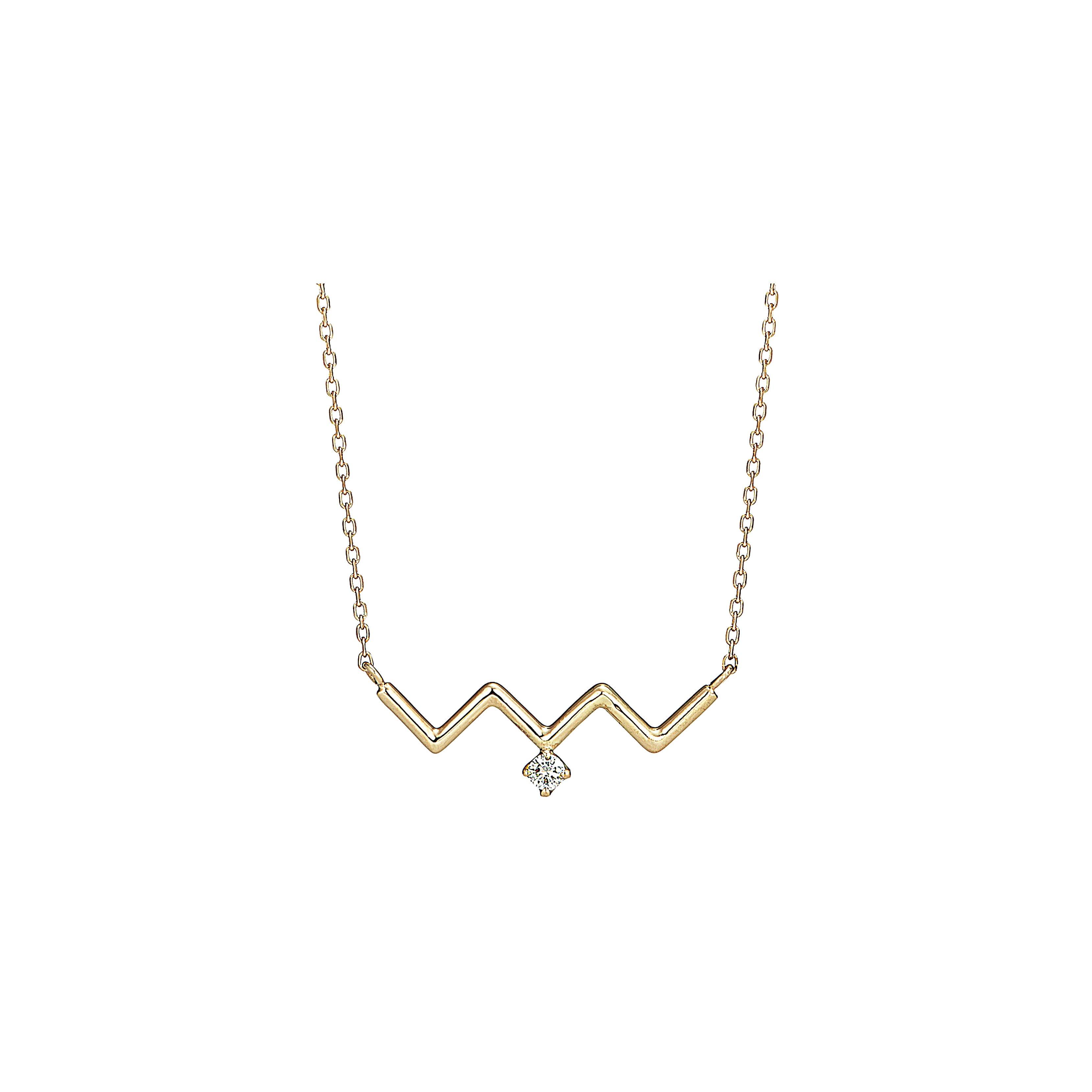 K18 Zig-Zag Necklace with a Diamond