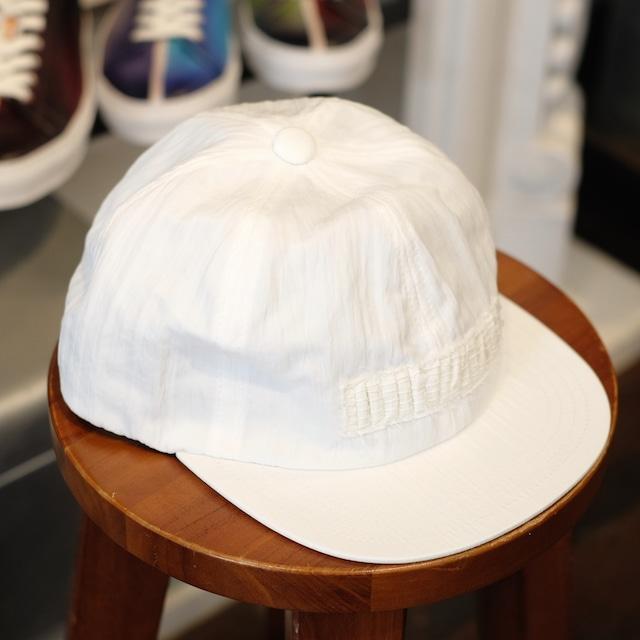 KUON(クオン) 塩縮ナイロン裂織りパッチ 6パネルキャップ ホワイト