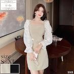 No.1511 韓国ワンピース きれいめワンピース 大人可愛いワンピース フレアワンピース フェミニンワンピース 2color