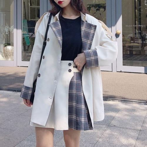 ジャケット コート チェック袖  韓国 ファッション レディース ダブルブレスト ホワイト チェック柄 アウター 大人カジュアル(DTC-601023676771_101)