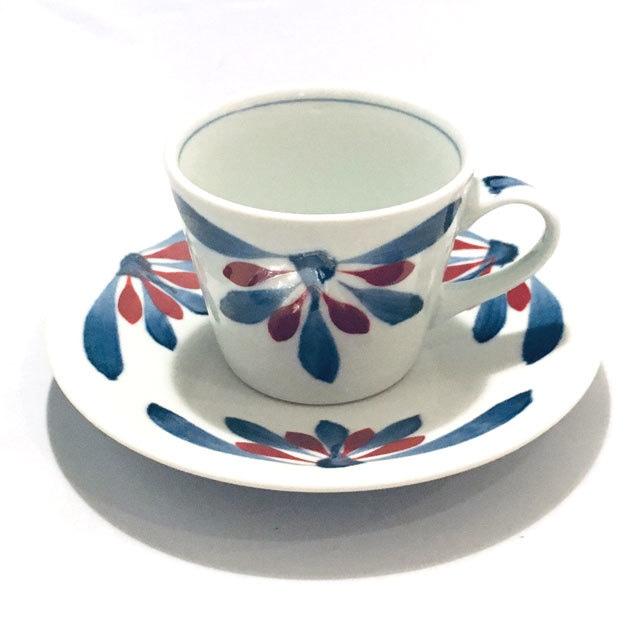 【砥部焼/梅山窯】コーヒー碗皿・蕎麦猪口型(唐草)
