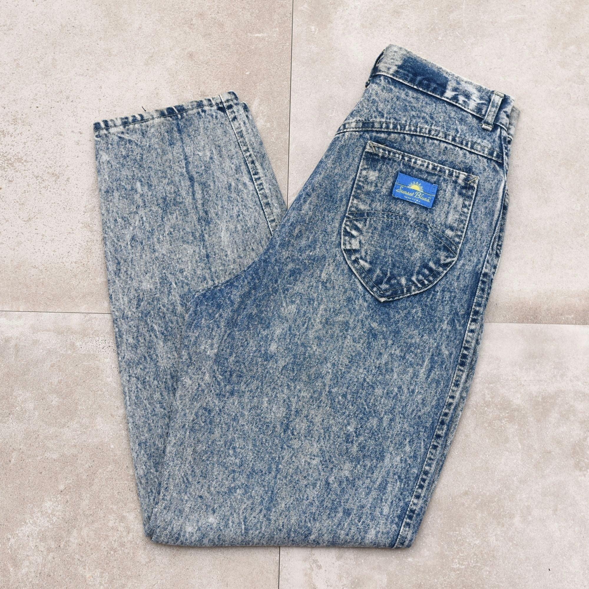 90s chic chemicalwash denim tepard pants