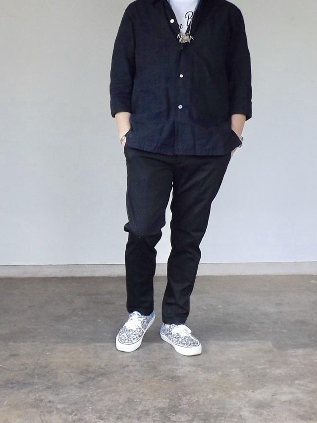 Men's  [cm002-65 ]  ストレッチピケトラウザーズ  黒パンツ, 日本製, アンクルパンツ,メンズ,素材感