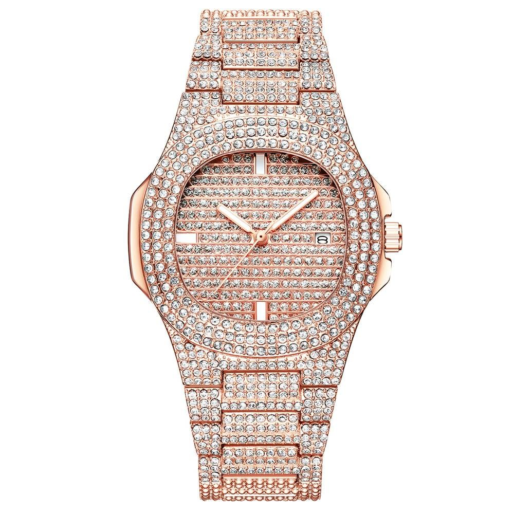 クォーツフルダイヤモンドステンレス鋼 レディースゴールデンファッション 女性用腕時計M-510-ROSE GOLD