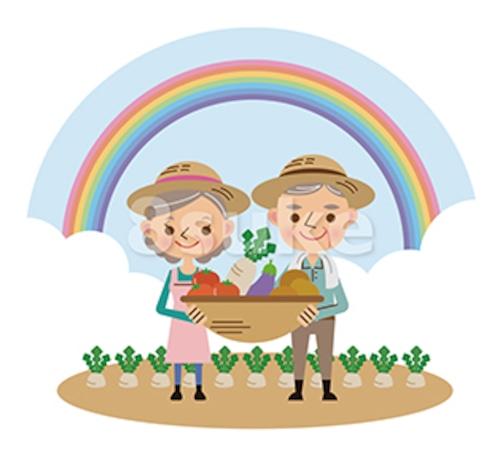 イラスト素材:収穫した野菜を持つ農家の老夫婦/背景あり(ベクター・JPG)