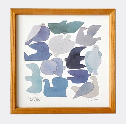 BIRDS WORDS POSTER 20  額装タイプ[木製]/BLUE BIRD