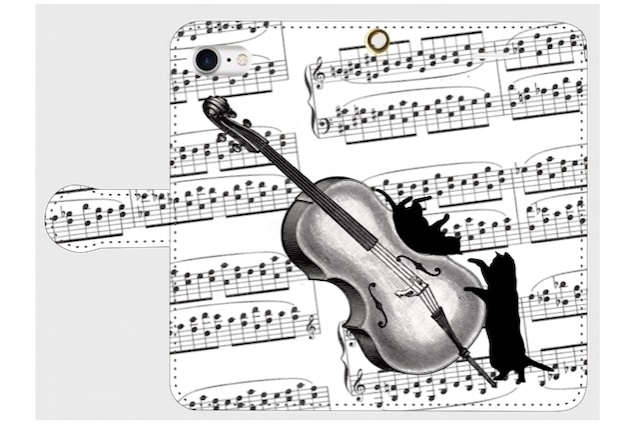 (iPhone用)チェロと黒猫の手帳型スマホケース