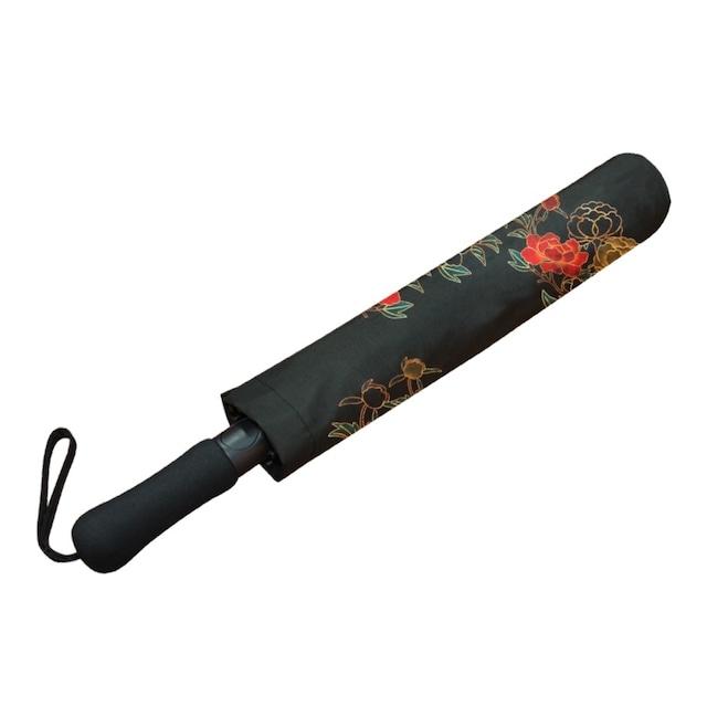 牡丹家紋装飾 黒 折りたたみ傘