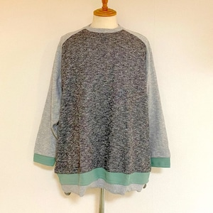 Melange Inlay Sweat Double Layered Design Pullover Black × Off